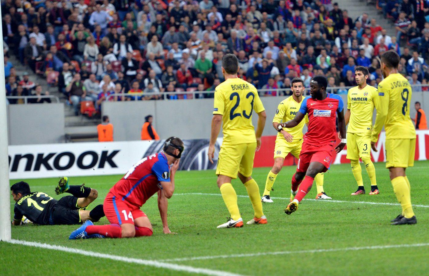 Sulley Muniru a marcat golul prin care Steaua a egalat pe Villareal  FOTO: Răzvan Păsărică / Sportpictures